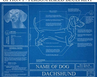Personalized Dachshund Blueprint / Dachshund Art / Dachshund Wall Art / Dachshund Gift / Dachshund Print