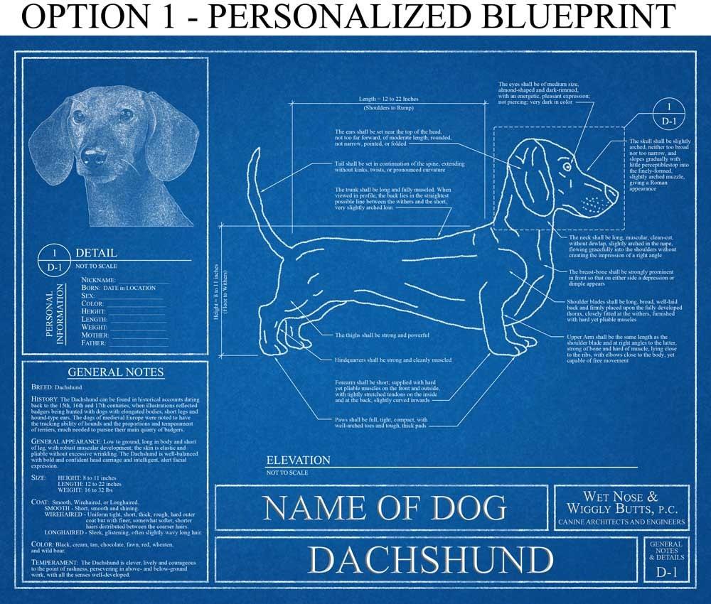 Blueprint Wall Art personalized dachshund blueprint / dachshund art / dachshund