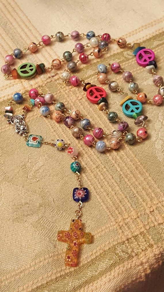My first rosary HEY MARY Peace Beads by T.R.Jackson catholic baptismal godparent baby gift 1st communion confirmation child rosary christian