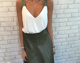 Midi skirt, leatherette skirt,  High waist skirt - Star, Olive green skirt -S