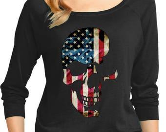 Ladies Skull Americana 3/4 Sleeve Scoop Neck 19425D2-DM482