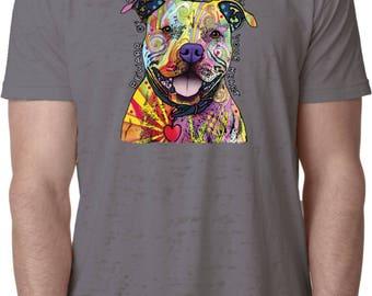 Men's Beware of Pit Bulls They Will Steal Your Heart Burnout Tee T-Shirt 20149NBT2-NL6110