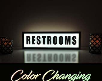Restrooms Sign, Restroom Sign, Bathroom Sign, Business Sign, Restrooms, Restrooms Light, Bathroom Light, Business Decor, Light Up Sign
