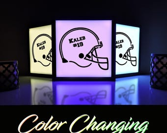 Football Nightlight, Football Sign, Football Helmet, Light Box, Football Theme, Lighting, Lamps, Home and Living, Football, Wall Decor