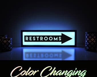 Restrooms Sign, Restroom Sign, Bathroom Sign, Business Sign, Restrooms, Restrooms This Way, Bathroom Light, Business Decor, Light Up Sign