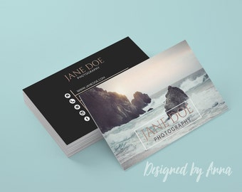 Photographer business card template modern business card design rose gold foil photography instant download business card printable  studio