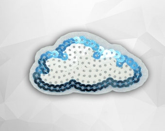 White Cloud Sequin Iron on Patch (M) - Sequin Cloud, Glitter Applique Iron on Patch - Size 7.0x3.8 cm