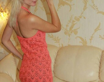 Knitted coral lace dress, openwork patterns dress, short knitted dress Cocktail Dress Open shoulder Dress