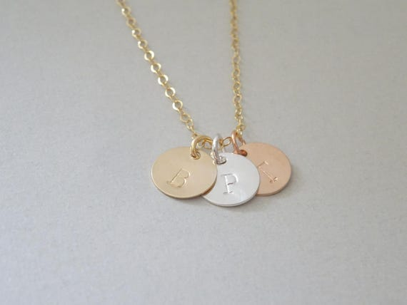 Triple disc necklace family necklace custom initials for Triple j fine jewelry