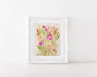 Vintage Style Floral Watercolor Art Print - Modern Watercolor - 8x10 wall art