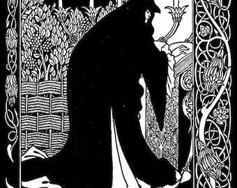 Art Nouveau, Aubrey Beardsley, Art Nouveau Print, Black and White, Art Illustration, Fine Art Print, Book Art Print, Fantasy, Goth, Vintage