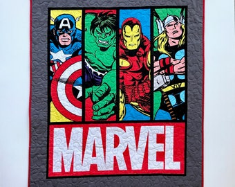 Boy Quilt, Super Heroes theme Quilt, Boy gift,  Marvel Super Heroes Quilt with Captain America, Hulk, Iron man and Thor.