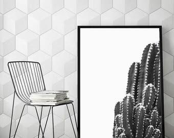 Instant download, cactus print, succulent art, scandinavian poster, black & white minimalist art, black cactus, printable art - Black Cactus