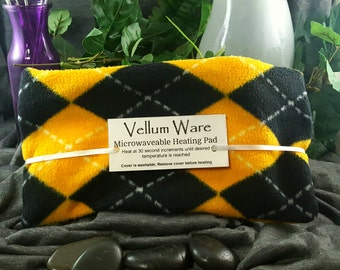 Fragrant Microwavable Rice Heating Pad with Black & Gold Argyle Fleece Cover
