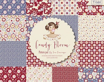 Scrapbooking Paper Pad Tilda Candy Bloom Collection 12x12, Card Making Set, Designer Pattern Paper Kit for Cardmaking, Paper Craft Supplies.