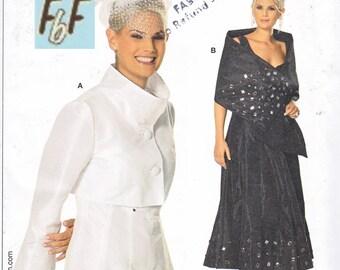 Stand up Collar Bolero Jacket, Shrug/ Burda 7632 Funnel Neck flared sleeve jacket, Wrap UnCut Sewing Pattern/ Plus Size 18 20 22 24 26 28 30