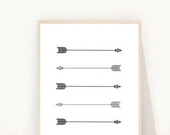Arrow Print, Printable art, Arrow Art, Arrow Wall Art,  Wall Art, , Tribal Art, Instant Download, Digital Art, Arrow download