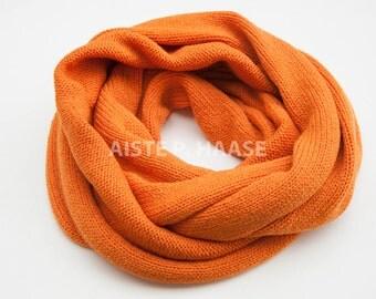 Chunky merino scarf,Merino infinity scarf, Orange color shawl, Merino loop scarf, Knitted merino scarf, Merino wool snood, Extra large scarf