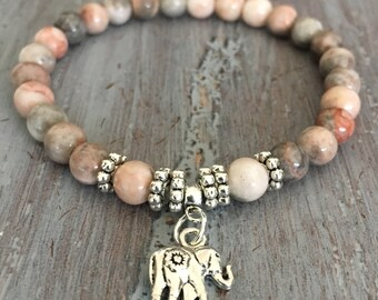 Elephant Bracelet, Elephant Jewelry,  Boho Bracelet, Elephant Charm, Beaded Bracelet, Charm Bracelet, Gemstone Beads, Gemstone Bracelet