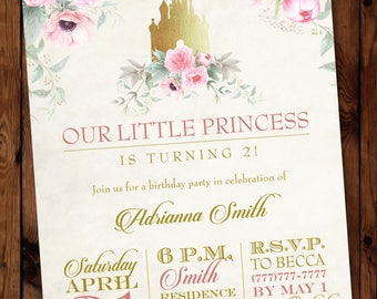 Little Princess Invitation/Princess Birthday Invitation/Fairytale Invitation/Once Upon a Time Invitation/Little Princess Invite