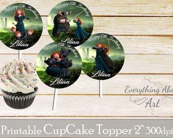 Brave Cupcake toppers printable, Princess Merida birthday, Printable cupcake toppers, Birthday party supplies, Brave Cupcake toppers