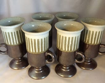 Vintage OTAGIRI Stoneware Irish Coffee Mugs, SIX Otagiri Japanese Ceramic Coffee Cappuccino Cups, Vintage Footed Pedestal Tall Coffee Cups