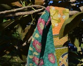 KANTHA SCARF - colourful PATCHWORK gypsy hippie / reversible Indian shawl bohemian / cotton saree hand-stitched / olive teal orange pink