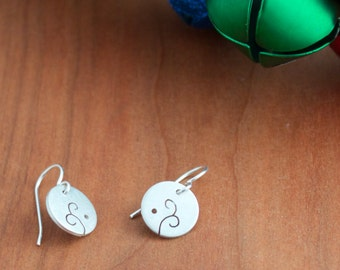 Silver Whimsical Earrings, Circle Earrings with Cutout Design