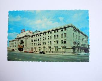 Canadian National Railway Station Winnipeg  Postcard / Vintage CNR postcard / vintage Railway Station