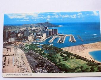 Diamond Head, Waikiki Hawaii Postcard  / Diamond Head  Postcard / Waikiki Postcard / Continental Card of Hawaii
