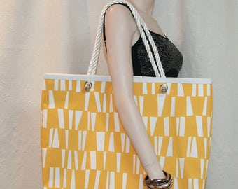 Large yellow and white beach bag