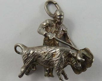 Matador With Sword & la Muleta Bullfighting Sterling Silver Vintage Charm For Bracelet