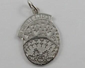 Vegreville Alberta Easter Egg Sculpture Sterling Silver Vintage Charm For Bracelet