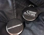 "Singular STARK INDUSTRIES Iron Man Inspired 2.25"" Pinback Button/Bottle-Opener Keychain"