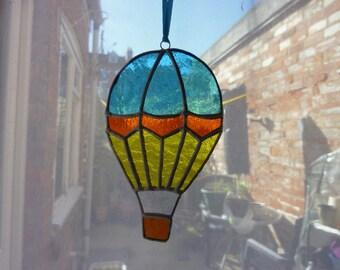 Stained glass hot air balloon suncatcher
