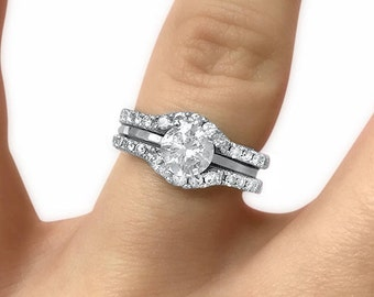 14k white gold curved moissanite wedding ring set of 2 ring enhancers shadow wedding bands for - Wedding Ring Guard