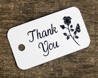 Thank You Tags - Hang Tags - Small Paper Labels - White Paper Tags - Gift Wrapping - Favor Tags - Wedding, Baby, Bridal Shower Tag