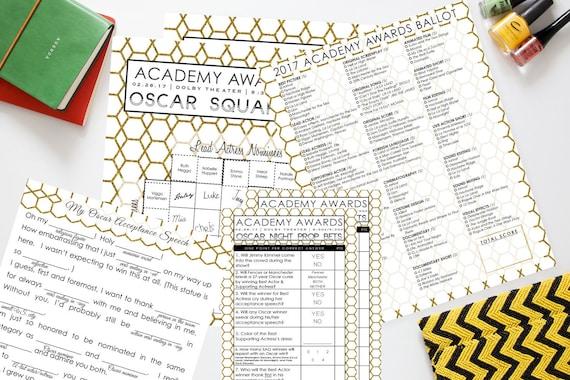 Oscar party set 2017 instant download 4 unique games - Academy awards 2017 download ...