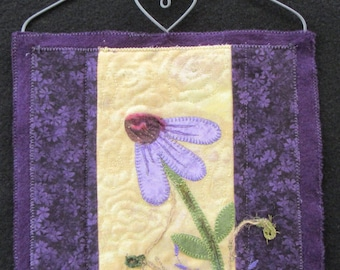 """Purple Cone Flower Quilted Wall Hanging, Flower Art Quilt, Home Decor, Flower Gifts, Unique Gift Idea,  8"""" x  9"""""""