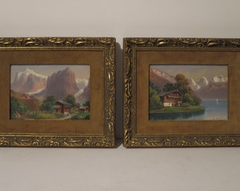 Set Of 2 Beautiful Vintage Original Oil Paintings - Swiss Landscapes By B.Muller.