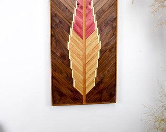 Reclaimed Wood Wall Art Hanging - Large Feather Wall Art - Reclaimed Wood Art Object - Southwestern Art - Wooden Wall Art Hanging - Boho Art