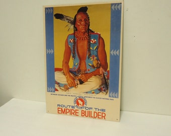 vintage railroad sign,train sign,great northern railway,native american indian people decoration,locomotive old advertising