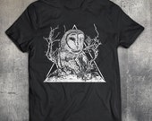 Owl Tshirt  owl tree bird mountains triangles animal barn owl