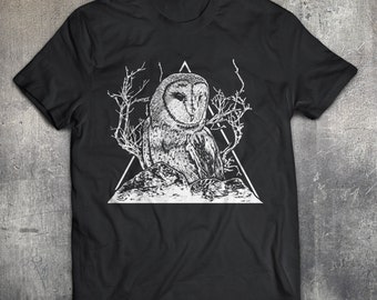 Owl T-shirt - owl, tree, bird, mountains, triangles, animal, barn owl