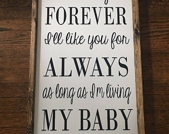 I'll Love You Forever, Nursery Wall Decor, Farmhouse Decor, Baby Shower Gift, Wooden Signs, Fixer Upper Decor, Nursery Decor, Hand Painted
