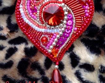 Red valentine heart beaded with rivoli