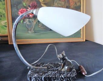 Table lamp Art Deco french 1930 s to the kitten on marble black/illuminati10