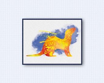 Ferret Watercolor Poster