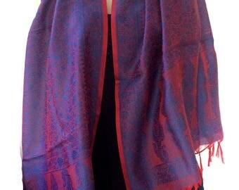 Paisley Silk Scarf,Peacock scarf,Navy Blue and red tassel scarf-silk wrap,Shawl kashmiri Scarf,Head scarf,Paisley fabric- Royal blue red