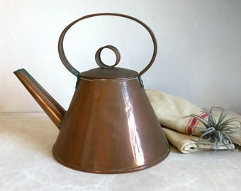 Old English Devon Copper Kettle, Antique Copper Tea Pot, Frontier Kettle, Rustic, Primitive, Farm House, Cottage Chic
